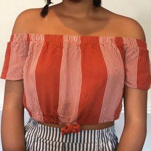 Pacsun burnt orange off the shoulder top